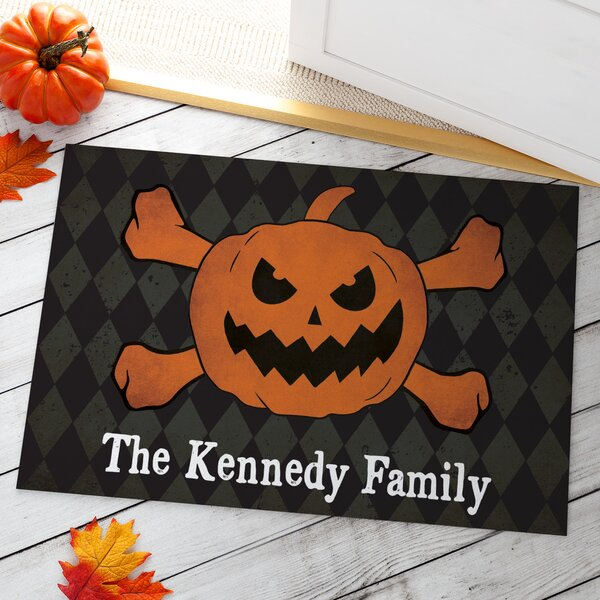 Almanzar Jack O Lantern and Crossbones Personalized Doormat by The Holiday Aisle