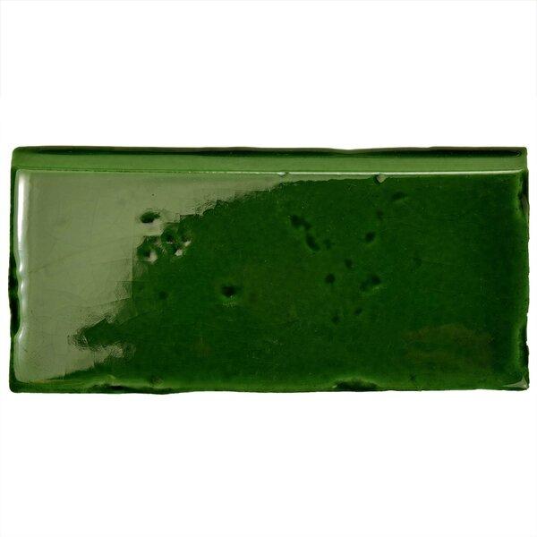 Frisia Zocalo 2.5 x 5.13 Ceramic Bullnose Tile Trim in Green (Set of 6) by EliteTile