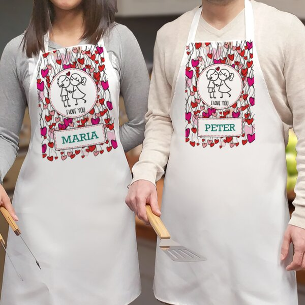 I Love You Personalized 2 Piece Apron Set by Monog