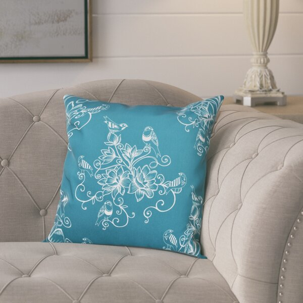 Cecilia Morning Birds Floral Outdoor Throw Pillow by Lark Manor