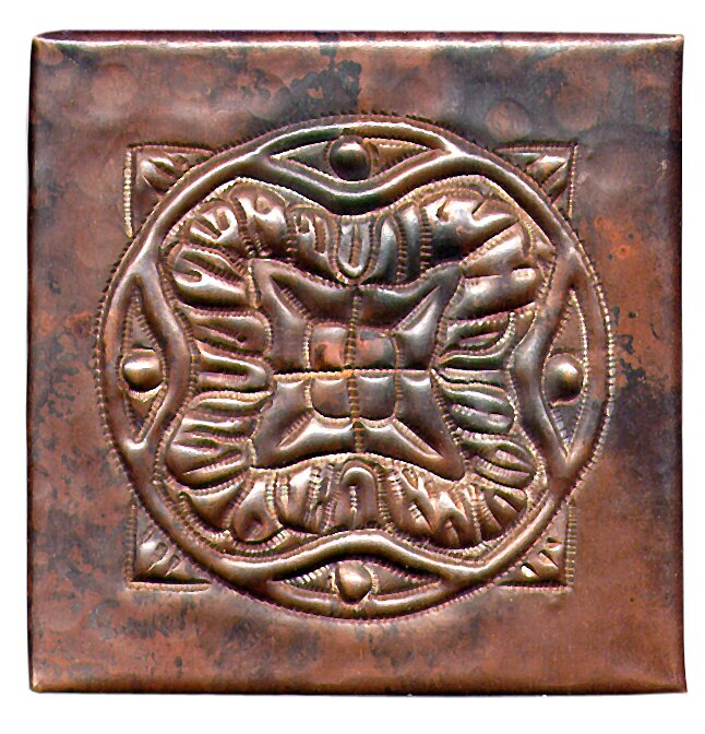 "Spanish Mosaic 4"" x 4"" Copper Tile in Dark Copper"