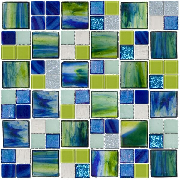Signature Line Seaside Glass Mosaic Tile in Blue/Green by Susan Jablon
