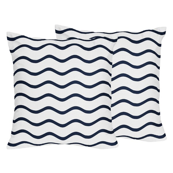 Whale Chevron Wave Cotton Throw Pillow (Set of 2) by Sweet Jojo Designs