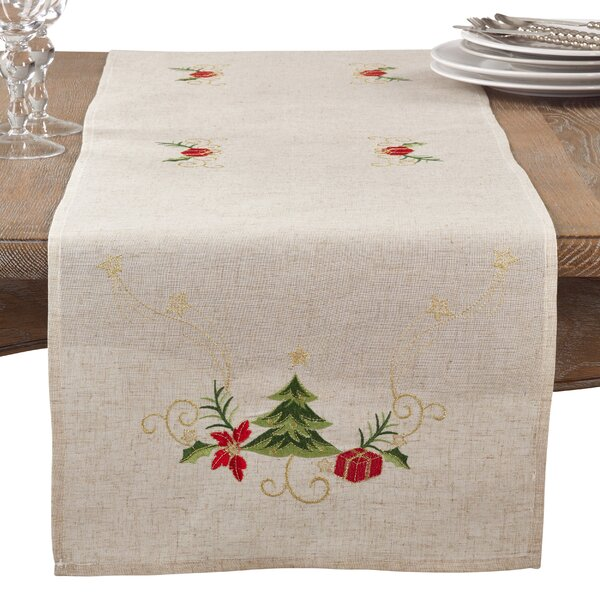 Embroidered Ornament Holiday Linen Blend Table Runner by The Holiday Aisle