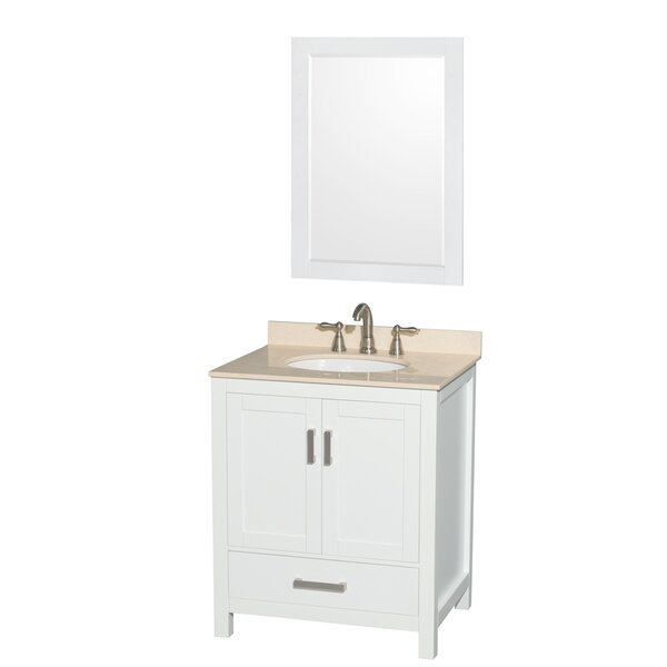 Sheffield 30 Single White Bathroom Vanity Set with Mirror by Wyndham Collection