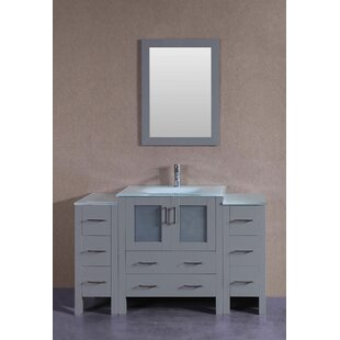 Reviews Mak 54 Single Bathroom Vanity Set with Mirror ByBreakwater Bay