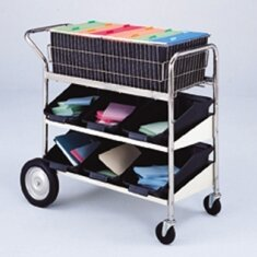 Medium Basket File Cart with 2 Lower Shelves by Charnstrom