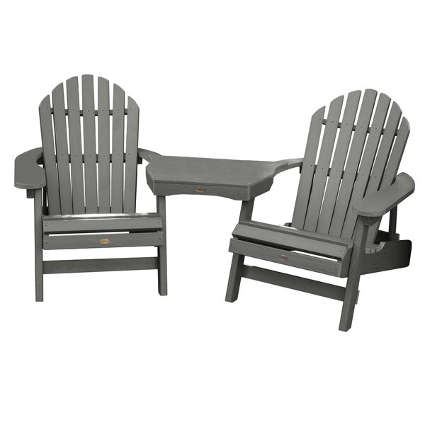 Camacho Plastic Folding Adirondack Chair with Table (Set of 3) by Longshore Tides