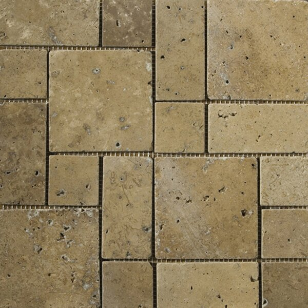 Travertine 12 x 12 Mini Versailles Mosaic in Mocha by Emser Tile