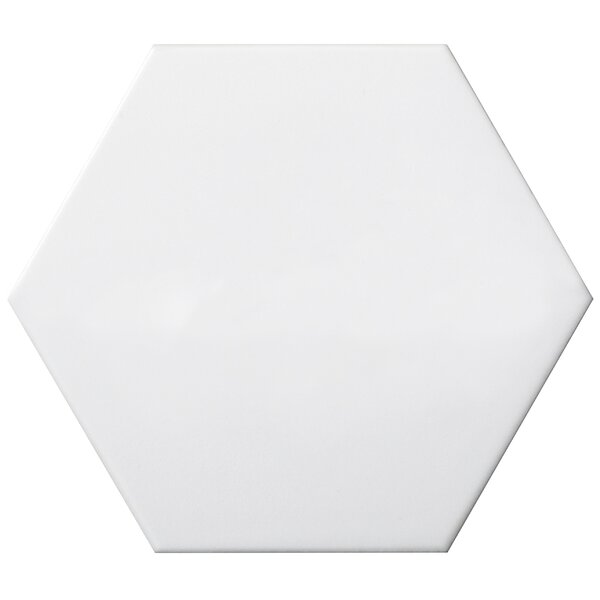 Code Hex Smooth 6 x 7 Ceramic Field Tile in White by Emser Tile
