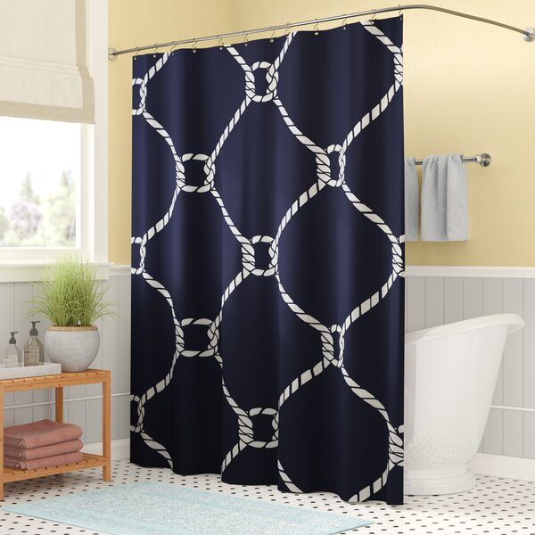 Bridgeport Geometric Mesh Shower Curtain by Beachcrest Home