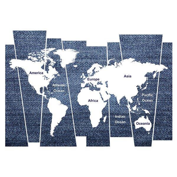Best Denim World Map Wall Decal By Wallpops! ⊗
