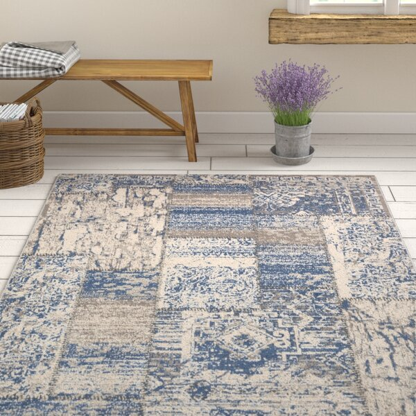 Kimes Denim Blue / Ivory Area Rug by Ophelia & Co.