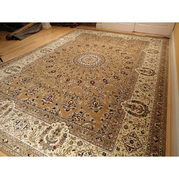 Shanelle Living Room Hand-Knotted Silk Brown Area Rug by Astoria Grand