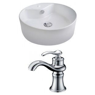 Ceramic Circular Vessel Bathroom Sink with Faucet and Overflow ByRoyal Purple Bath Kitchen