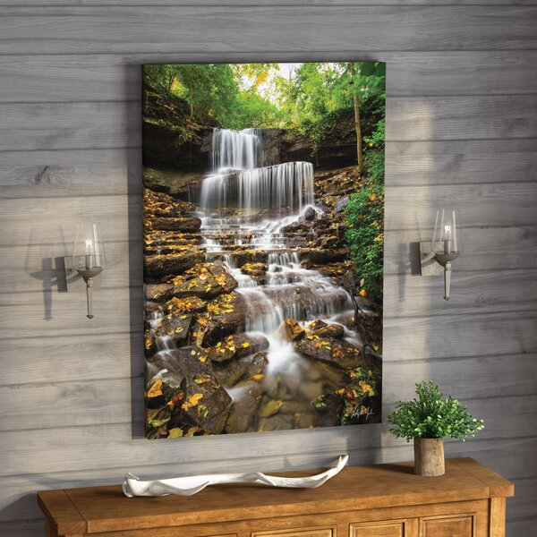 West Milton Cascades Fall Leaves Vertical Photographic Print on Wrapped Canvas by Loon Peak