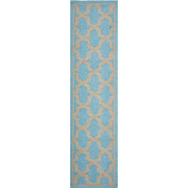 Enoch Geometric Hand-Woven Turquoise Indoor/Outdoor Area Rug by Breakwater Bay