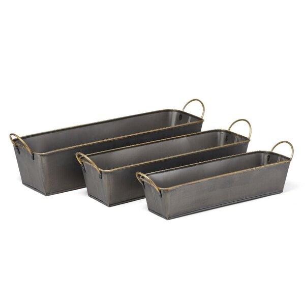 Straightforward 3-Piece Wrought Iron Planter Box Set by Benzara