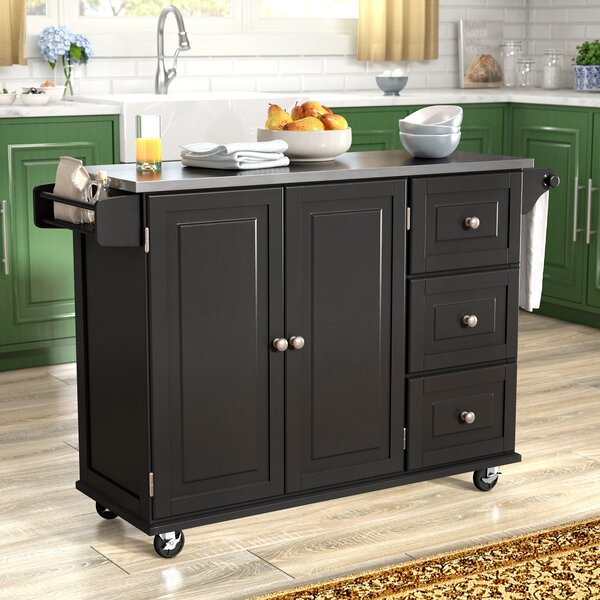 Modern Kuhnhenn Kitchen Island With Stainless Steel Top By Andover Mills Spacial Price