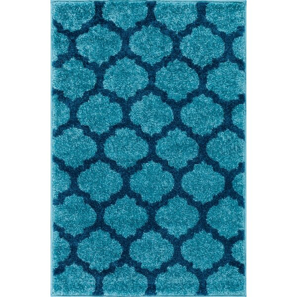 Mystic Zoe Modern Trellis Blue Area Rug by Wrought Studio