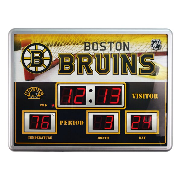 NHL Scoreboard Wall Clock with Thermometer by Team