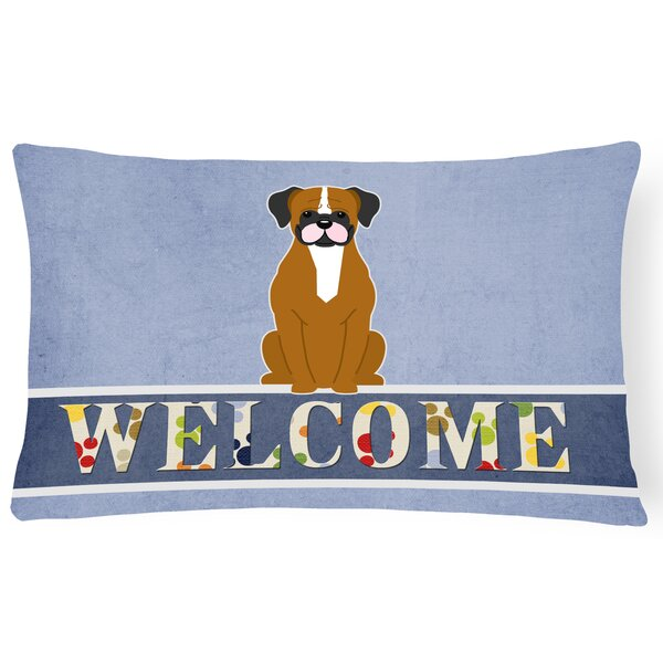 Rodman Fawn Boxer Welcome Lumbar Pillow by Red Barrel Studio