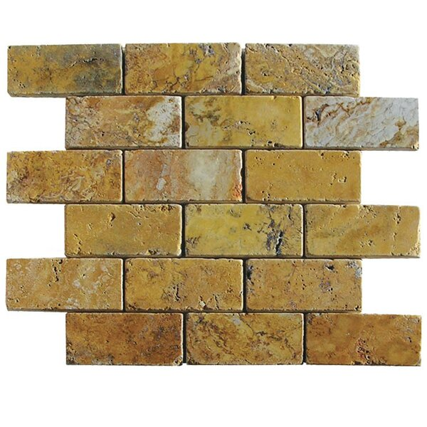 Tumbled 2 x 4 Natural Stone Mosaic Tile in Gold by QDI Surfaces