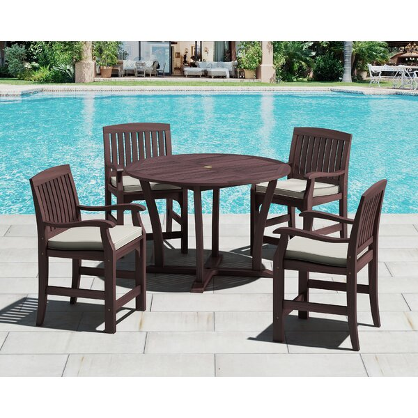 5 Piece Dining Set with Cushion by Royal Teak by Lanza Products