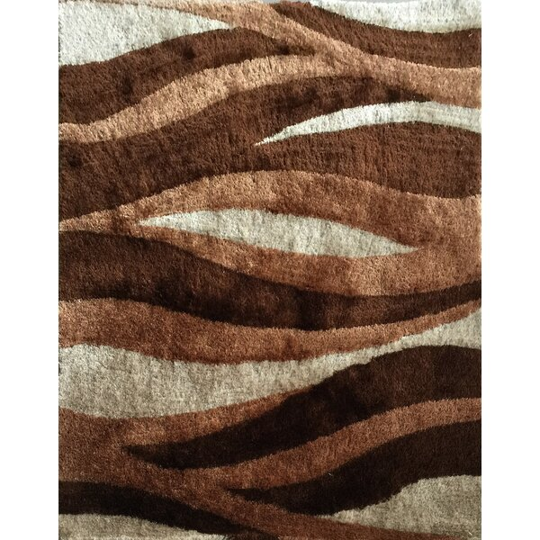 Wilhoit Abstract Shag Hand-Tufted Brown Area Rug by Orren Ellis