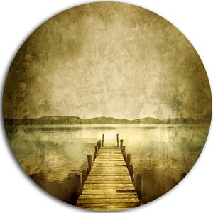 'Vintage Pier Over Lake' Graphic Art Print on Metal by Design Art