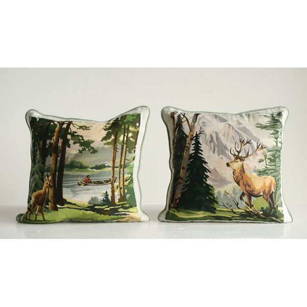 Weissman 2 Piece Deer and Landscape Cotton Throw Pillow Set by Millwood Pines