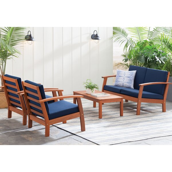 Fann 4 Piece Sofa Set with Cushions by Beachcrest