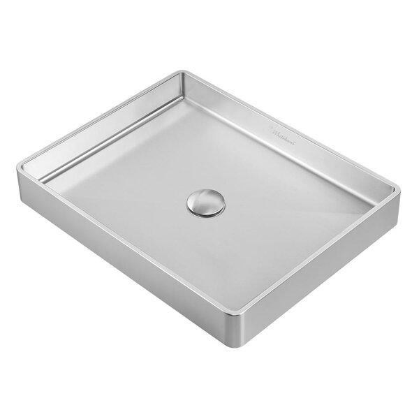 Noah Plus Metal Rectangular Vessel Bathroom Sink by Whitehaus Collection
