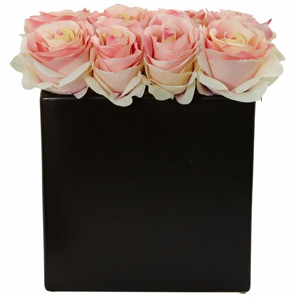 Silk Roses Floral Arrangement in Decorative Vase by House of Hampton