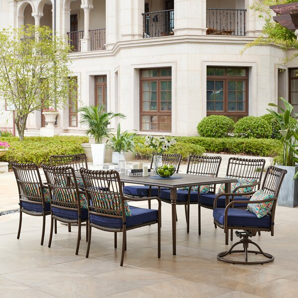 Ritchie 9 Piece Dining Set with Cushions by Bayou Breeze