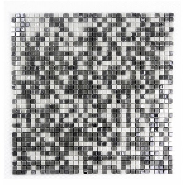 Galaxy Straight 0.31 x 0.31 Glass Mosaic Tile in Gray & White by Abolos