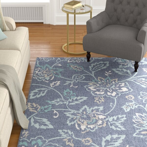 Pearce Floral Charcoal/Aqua Indoor/Outdoor Area Rug by Charlton Home