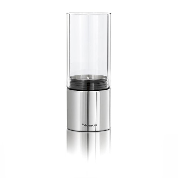 Wide Steel and Glass Hurricane Tabletop torch by Blomus