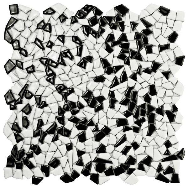 Mareado Ceramic Mosaic Tile in Black/White by EliteTile