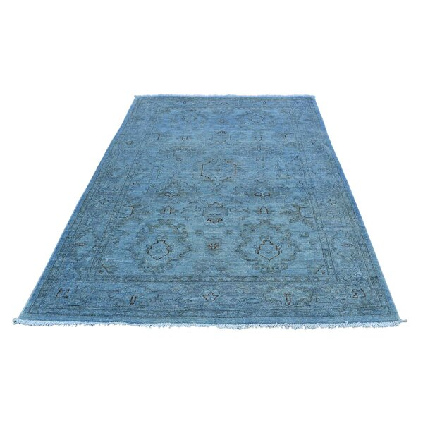 One-of-a-Kind Kensington Tibetan Hand-Knotted Silver Blue Area Rug by Canora Grey