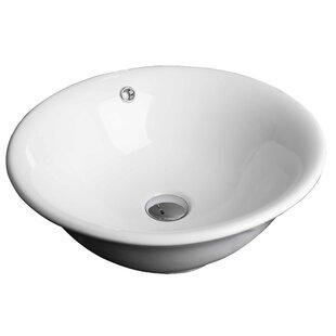 Compare Ceramic Circular Vessel Bathroom Sink with Overflow ByAmerican Imaginations