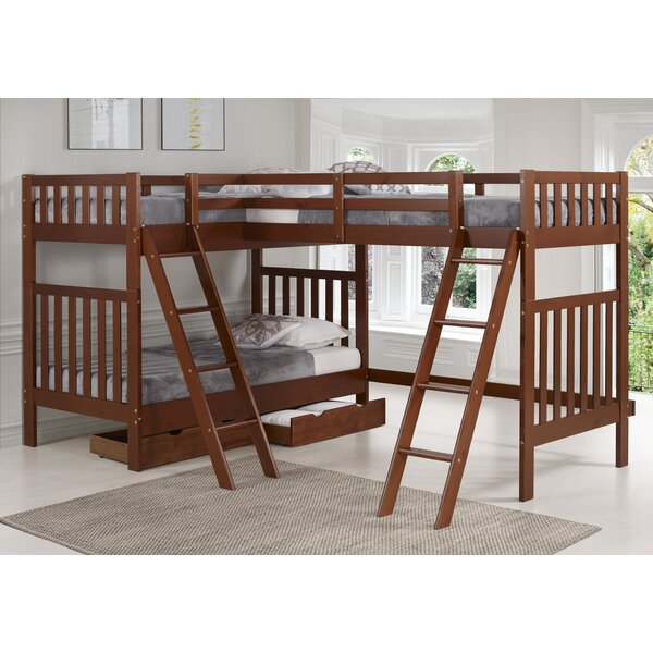 Ratcliff Twin L-Shaped Bunk Bed with Drawers by Alcott Hill