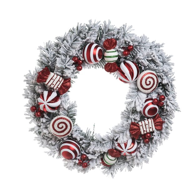 Aaron Peppermint 24 Wreath by The Holiday Aisle
