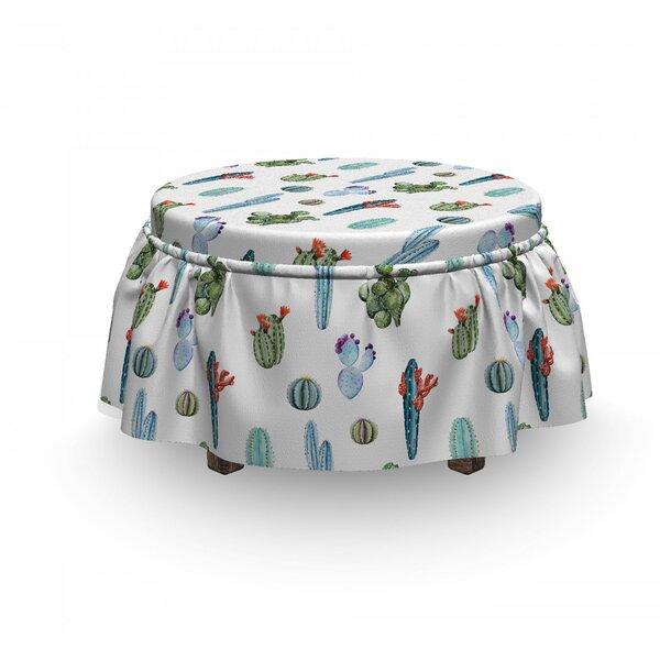 Cactus Blossomin 2 Piece Box Cushion Ottoman Slipcover Set By East Urban Home