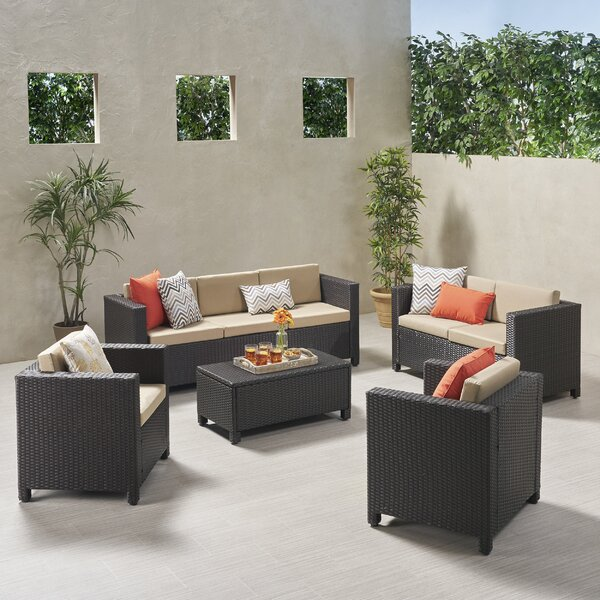 Kraemer Outdoor 5 Piece Rattan Sofa Seating Group with Cushions by Ivy Bronx