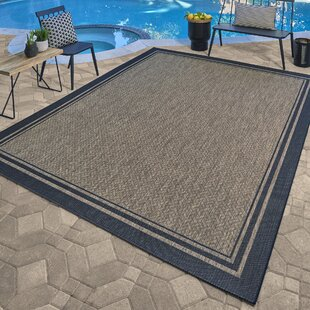 Khalil Brown/Black Indoor/Outdoor Area Rug by Breakwater Bay