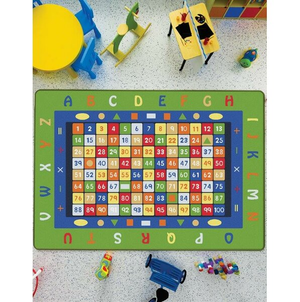 Wiley Math Green/Blue Area Rug by Zoomie Kids