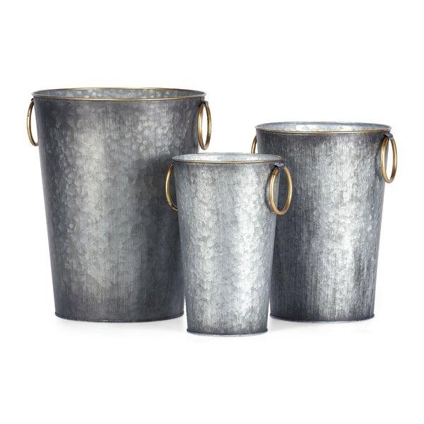 Fantastic 3-Piece Iron Pot Planter Set by Benzara