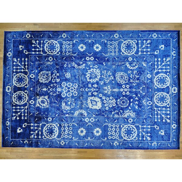 One-of-a-Kind Jerald Hand-Knotted Blue/White 12'3 x 18'4 Area Rug