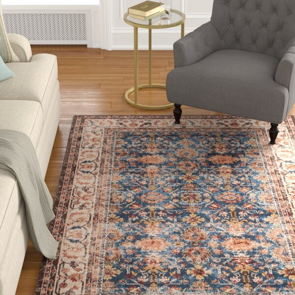 Broomhedge Power Loomed Royal/Ivory Area Rug by Charlton Home
